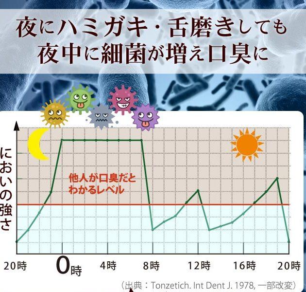 朝の口臭レベルは最大に。夜中に細菌が増えて口臭が悪化する